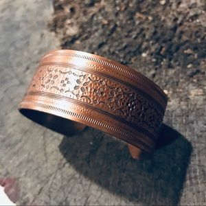 Vintage solid copper cuff bracelet floral motif